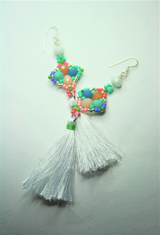 Tassel Earrings with Multicolored and White Beads