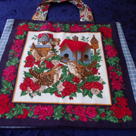 Birds & Birdhouses Fabric Bag
