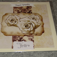 Deepest Sympathy - Thinking of You - Sepia Roses - Insert and Verse Inside