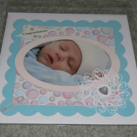 "Congratulations - Baby 8 x 8"" - Pearlescent insert - with verse"