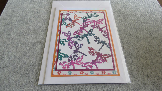 "Dragonflies - Multi Coloured - 7 x 5"" Card with blank insert"
