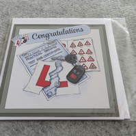 "Congratulations - Passing Driving Test - Torn Up L Plate 6 x 6"" Blank Insert"