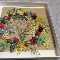 "Christmas Wreath 8 x 8"" Card Blank Inside"
