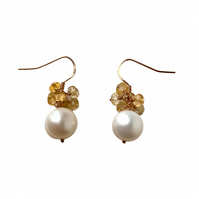 Large Pearl and Citrine Cluster Earrings - November Birthstone Jewellery Gift