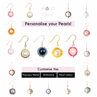 Personalised Birthstone Halo Pearl Earrings - Birthday Gifts - Christmas Present