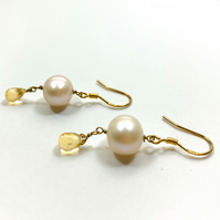 Citrine Pearl Drop Earrings - November Birthday Gift - Anniversary Presents