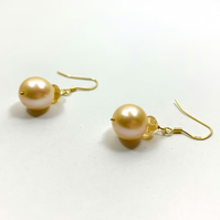 Simple Citrine and Pearl Earrings - November Birthstone Birthday Gifts for Her