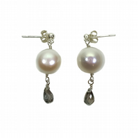 Mystic Topaz Pearl Drop Earrings - November Birthday Gifts - Anniversary Gift