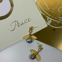 Personalised Birthstone Angel Earrings Necklace Gold - Christmas Gifts Under 15