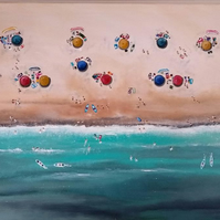 Original Seascape Ocean Beach Aerial Abstract Painting