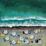 Original Painting Aerial Abstract Seascape Beach Summer Holiday