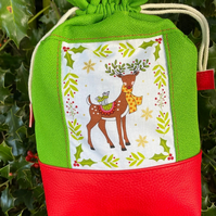 Reindeer Christmas Drawstring Gift Bag