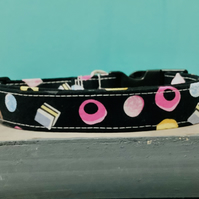 Liquorice pet collar and lead, adjustable fabric collar
