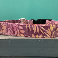 Batik purple pet collar, lead, adjustable collar, dog
