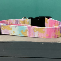 Rainbow unicorn pet collar, lead, adjustable collar, dog