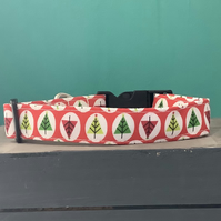 Christmas tree red pet collar, lead, adjustable collar, dog, xmas