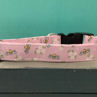 Busy bee pink pet collar, lead, adjustable collar, dog