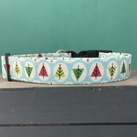 Christmas tree blue pet collar, lead, adjustable collar, dog