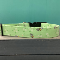 Busy bee green pet collar, lead, adjustable collar, dog