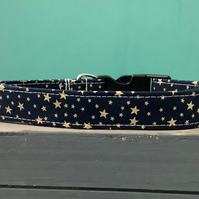 Gold stars navy pet collar, lead, adjustable collar, dog