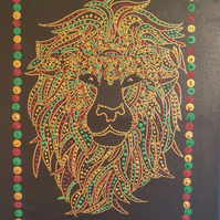 Hand Painted Lion on Canvas by Rose Johnson