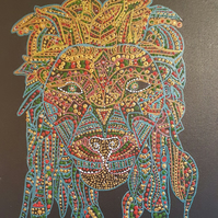 Lion Head on canvas painted by Rose Johnson