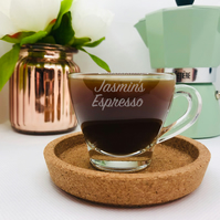 Personalised Espresso Coffee Glass. Coffee Lover. Strong Coffee cup