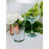 NEARLYWED Personalised Glass set. Wine, Gin, Whiskey or Pint glasses.