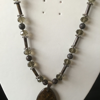 Bamboo Jasper, Crystal & Bronzite Pendant Necklace. (N314)