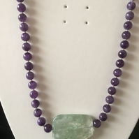 Amethyst Necklace with large green Quartz Oval Pendant (N004)