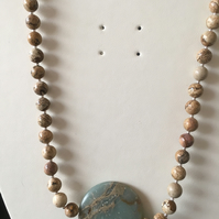 Picture Jasper & African Opal Pendant Necklace. (N076)