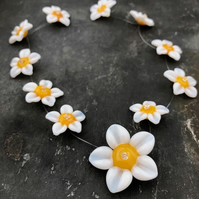 White Flower Glass Beads