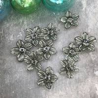 Grey Flower Glass Beads