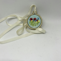 Poppy and Cornflower Hedgerow, Embroidered Pendant