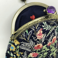 Navy Blue Floral Sparkle Coin Purse