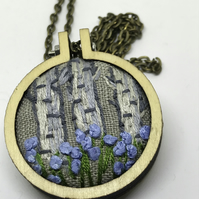 Silver Birch trees and Blue flowers pendant