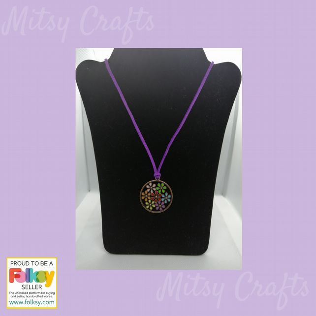Christmas Gift, Multi Coloured Flower Pendant on Purple Soft Suede Necklace