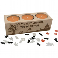 Halloween Candle, decoration. Engraved tealight holder & tealights.
