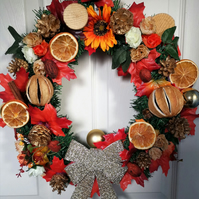 Orange and gold wreath