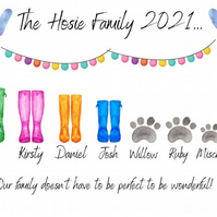 Personalised A4 prints, welly boot family prints, personalised portraits