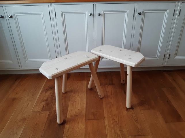 Handmade wooden cutler stool or side table