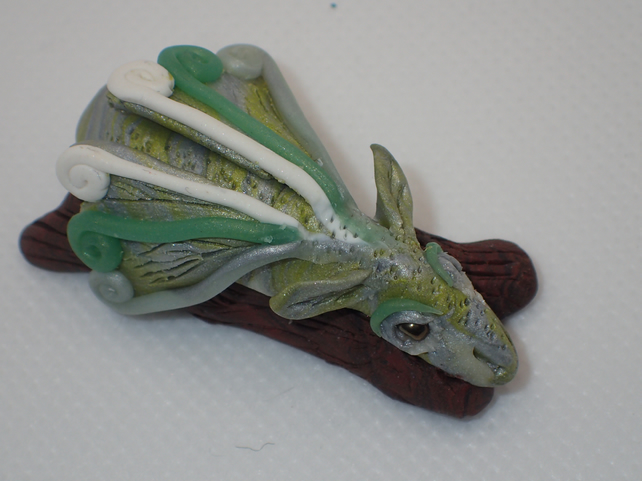 Ice green polymer clay dragon