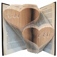You & Me Love Hearts Folded Book Art