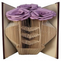 Vase With Roses Folded Book Art