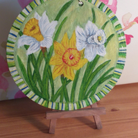Daffodils on Welsh Slate Handpainted Wall plaque.