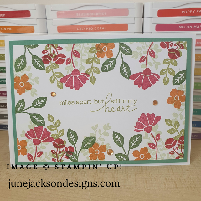 Hand stamped floral greetings card, Lovely You Stampin Up card