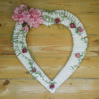 White Cotton Rope heart wreath, Large romantic Heart style, Valentines, Wedding,