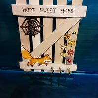 Rustic Hand Made Hanging, Home Sweet Home Fox And Cobweb DesignGate Key Holder