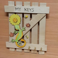Rustic Hand Made Hanging, My Keys Lizard Design Gate Key Holder