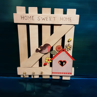 Rustic Hand Made Hanging, Home Sweet Home Robin Design Gate Key Holder